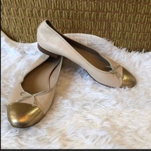 J. Crew 8 ballet flats 100% leather. Nude …